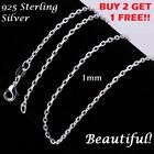 1mm Womens 925 Sterling Silver Cable Link Rolo Chain Necklace 16,18,20,22,24 in image