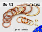 M22/M24 Thick 1,5mm Metric Copper Flat Ring Oil Drain Plug Crush Washer Gaskets