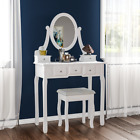 Nishano Dressing Table Drawer Stool Adjustable Mirror Bedroom Makeup Desk White