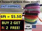 6ft BRAIDED USB Charger Cable Data Cord for iPhone 5,6,7 a lot of colors Gift