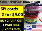 2x 6ft BRAIDED USB Charger Cables Cords for iPhone 5, 6, 7 Plus+ Graduation Gift