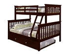 TWIN OVER FULL KID'S BUNK BED W/ DRAWERS OR TRUNDLE OPTION - CAPPUCCINO FINISH