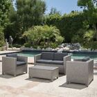 Pueblo 4 Piece Wicker Chat Set w/ Water Resistant Cushions & Cover