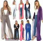 NEW LADIES LONG SLEEVE OPEN FRONT BELTED CHIFFON CARDIGAN TOP UK 8-22