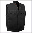 Men's Concealed Snap Denim Club Vest w/ Hidden Zipper mdm3000