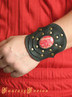 Medieval Sorcerer Witch Leather Cuff Bracer Red Natural Gemstone