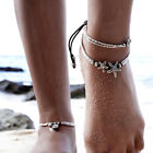 BOHO FESTIVAL SILVER STARFISH OR OM ANKLET ANKLE CHAIN BLACK CORD -  UK SELLER