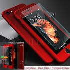 Ultra thin 360° Full Body Hrbrid Case + Tempered Glass Cover For iPhone 5 5s SE
