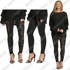 New Ladies High Waisted Extreme Ripped Underlay Lace Slim Fit Leggings Jegging