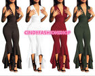 USA Women High Deep V Neck Waist Belted Jumpsuit With Asmmetric Jumpsuit Romper