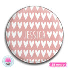 Personalised HEARTS 58mm Makeup POCKET MIRROR Hen Party/Wedding Favour/Gift