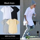 Fashion Men's Cotton Long T-Shirt Extended Casual Hip Hop Crew Elongated Tee Top