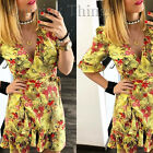 ZARA NEW S/S 2017. YELLOW PRINTED FLORAL FRILLED MINI DRESS. REF 2911/985.