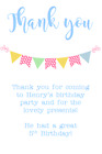 personalised photo paper card party birthday thank you notes BUNTING BOY GIRL
