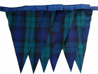 Navy and green blackwatch tartan single sided bunting wedding birthday party