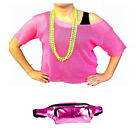 80s Retro String Mesh Net Top, Set of 4 Neon Beads and High Shine Bum Bag Deal