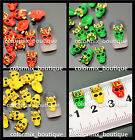 3D Nail Art Tips Decoration Neon Green Yellow Orange Skull (7 x 11 )mm