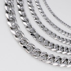 9/11/13/15mm Mens Chain Silver Tone Stainless Steel Curb Cuban Link Necklace