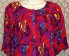 NWT SZ M PATIO HOUSE DRESS BUTTON FRONT DUSTER SHIFT MUU GO SOFTLY W/BUTTERFLIES