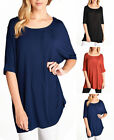 Elbow Sleeve Round Neck BAMBOO JERSEY Spandex TUNIC TOP S ~ L