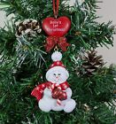 Personalised Baby's 1st Christmas Tree Ornament Baby Candy Cane Heart Red