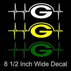 Large Green Bay Packers Heartbeat Vinyl Decal Sticker - Pick Your Color!