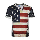 Summer 3D US Flag Print T Shirt Casual Short Sleeve Vintage Graphic Tee For Men