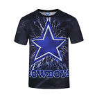 New Summer 3D Blue Star Print T Shirt Casual Short Sleeve Graphic Tee For Men