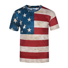 Summer New Men Vintage US Flag Casual Short Sleeve Tee 3D Print T-Shirt M to 3XL