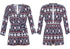 New Women Sexy Belted Ethnic Print Wrap V Neck 3/4 Sleeves Navy Play Suit 8-14