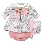 *New Winter*Baby Girls Romany Spanish Pink paisley 3 Piece Dress Bonnet Set