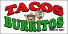 (CHOOSE YOUR SIZE) Tacos Burritos DECAL Concession Food Truck Vinyl Sticker