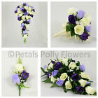 Silk Wedding Flowers by Petals Polly, BOUQUET POSY BUTTONHOLES in PURPLE LILAC