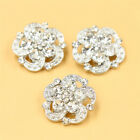 6 Pcs Silver Gold Plated Crystal Diamante Rhinestone Shank Buttons Sewing Crafts