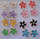 Lovely little studs earrings gold plated flowers in 8 colours +stoppers