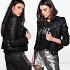 Kyпить New Womens Ladies Quilted Sleeve Faux Leather Biker Jacket UK SIZE 8-14 на еВаy.соm