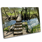 Woodland bridge Landscape Canvas Wall Art Print Picture 47