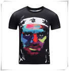 New 3D Digital print black T-Shirt Tops Casual Graphic Creative Short sleevest