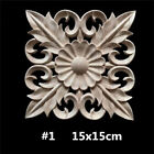 Wood Carved Onlay Applique Square Cabinets Unpainted Furniture Home Decor 9Style