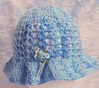 PREEMIE BABY GIRL HAND CROCHETED HAT knit early small micro premature BLUE 2t