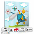 NURSERY BABY KIDS CHILDS HELICOPTER GIRAFFE- CANVAS WALL ART PRINTS PICTURES
