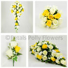 Silk Wedding Flowers by Petals Polly, BOUQUET POSY BUTTONHOLES in YELLOW IVORY
