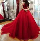 Elegant Red Prom Quinceanera Dresses Formal Appliques Evening Ball Party Dresses