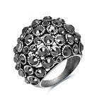 Vintage Crystal White Gold Filled Women Silver Wedding Band Cocktail Style Ring