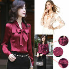 Women Beauty Long Sleeve Silk Red Upscale Blouse Shirt Tops Blouse Clothes