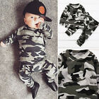 Kid Baby Newborn Toddler Boy Camouflage long Sleeve T-shirt Tops Outfits Clothes