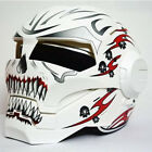 Iron Man Helmets Off-road Racing Motorcycle Full Face Helmets White Red Devil