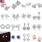 Women Fashion 925 Sterling Silver Crystal Rhinestone Elegant  Ear Stud Earrings image