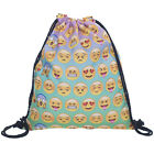 Women Oxford Emoji Design Drawstring School Bag Girl Gym Funny Travel Backpack