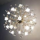 Modern Romantic Crystal Floral LED Ceiling Lamp Pendant Light Hang Lighting
